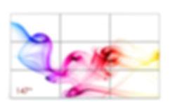 """Rechteckige Videowand mit farbenfrohem Bild """"147"""