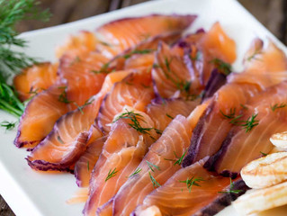Blueberry, Gin and Dill Cured Salmon