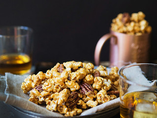 Salted Maple Whiskey Caramel Corn with Pecans