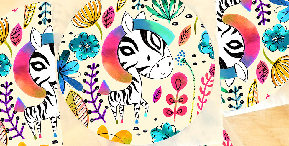 Aufkleber Happy Zebra - 5 Stück