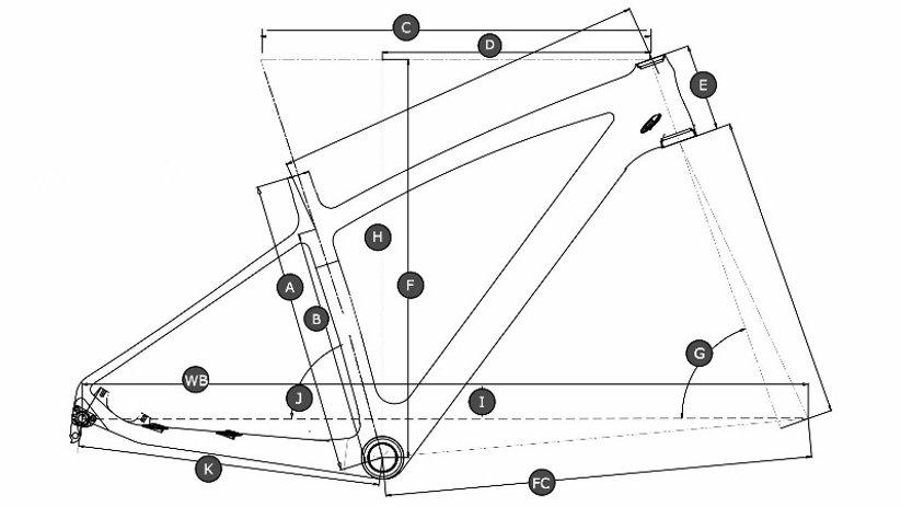 Geometry drawing of hardtail Fat bike
