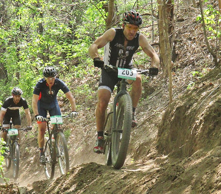 LaMere Cycles sponsored pro rider Jeff Hall on a LaMere mid-fat bike