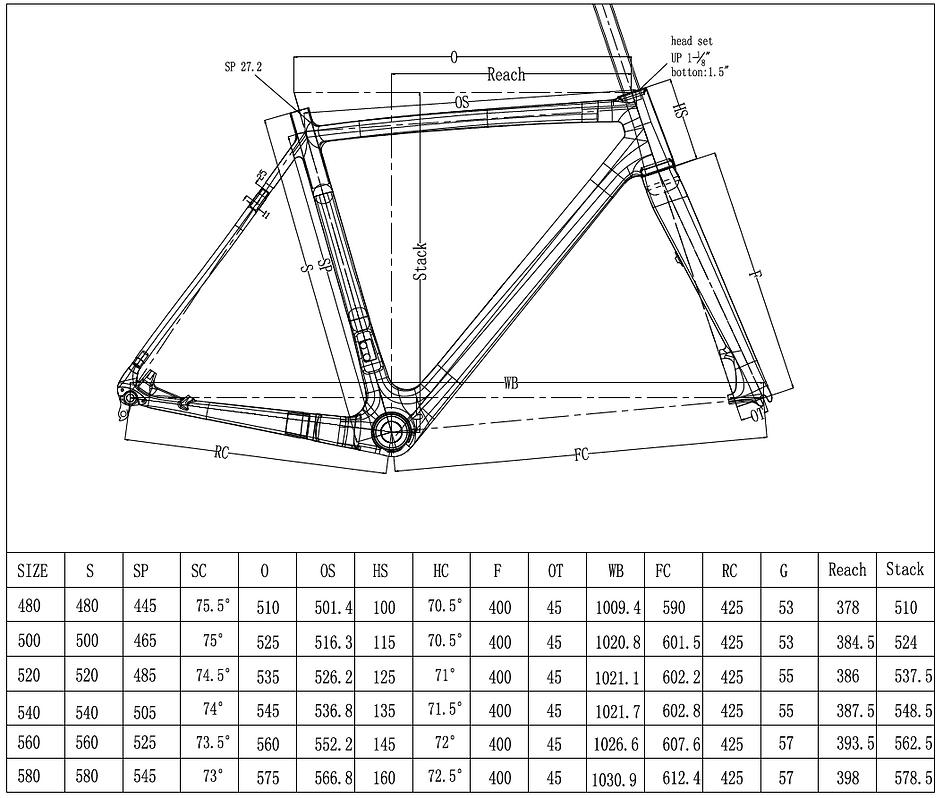 LaMere Cycles CycloCross Disc Bike Geometry