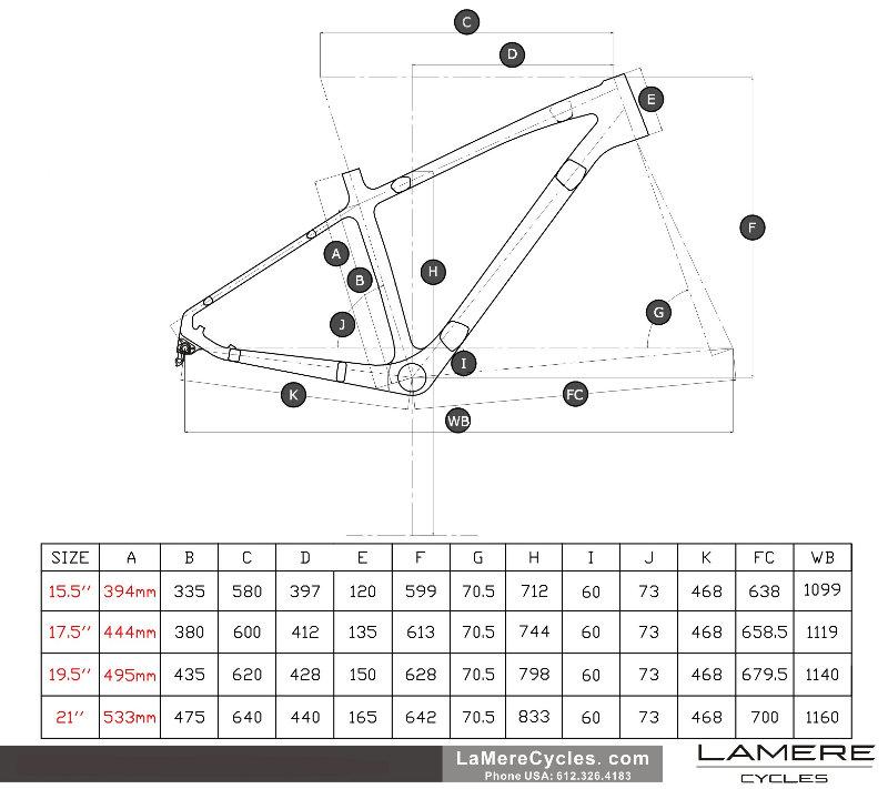 LaMere V1 190/197 fatbike geometry