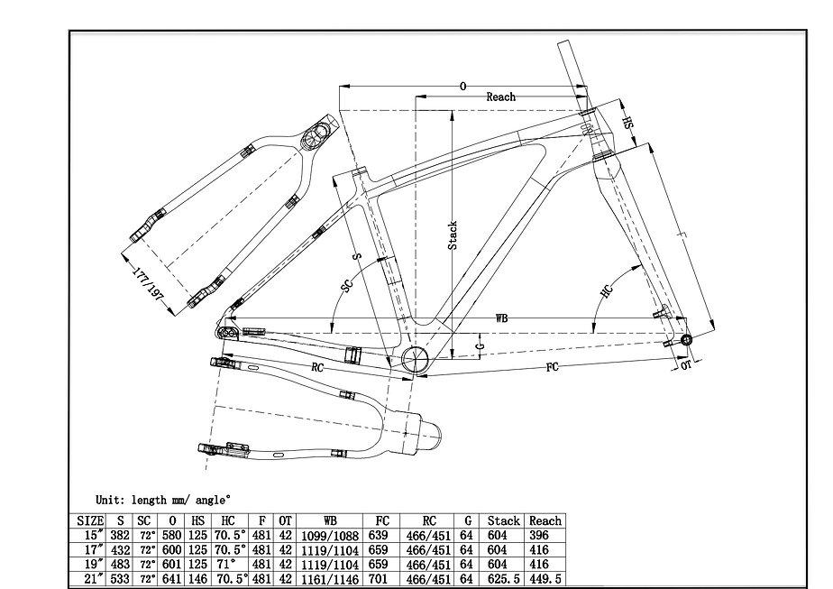 LaMere Cycles V2 fatbike geometry