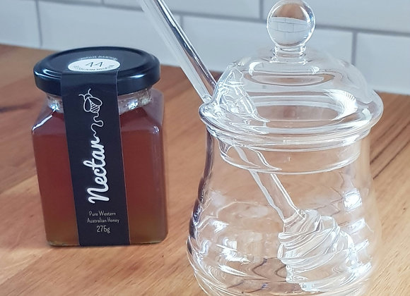 Glass Honey Pot + Dipper