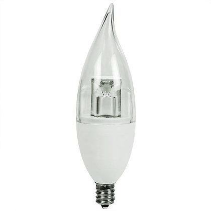 LED Flame Tip Candelabra 3W 225lm UL E12 Base 10-Pack