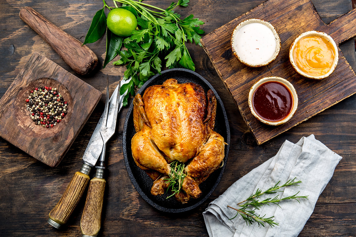 Roasted chicken with rosemary served on