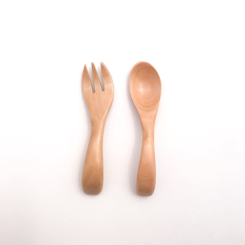Eco Wood Baby Cutlery Set, Dove and Dovelet
