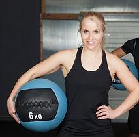Woman holding slamball