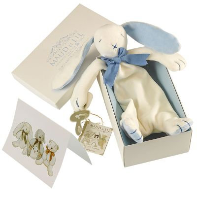 Oscar The Bunny Organic Comforter, White/Blue - MaudnLil