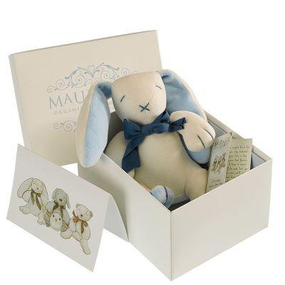 Oscar The Bunny Organic Toy, White/Blue - MaudnLil