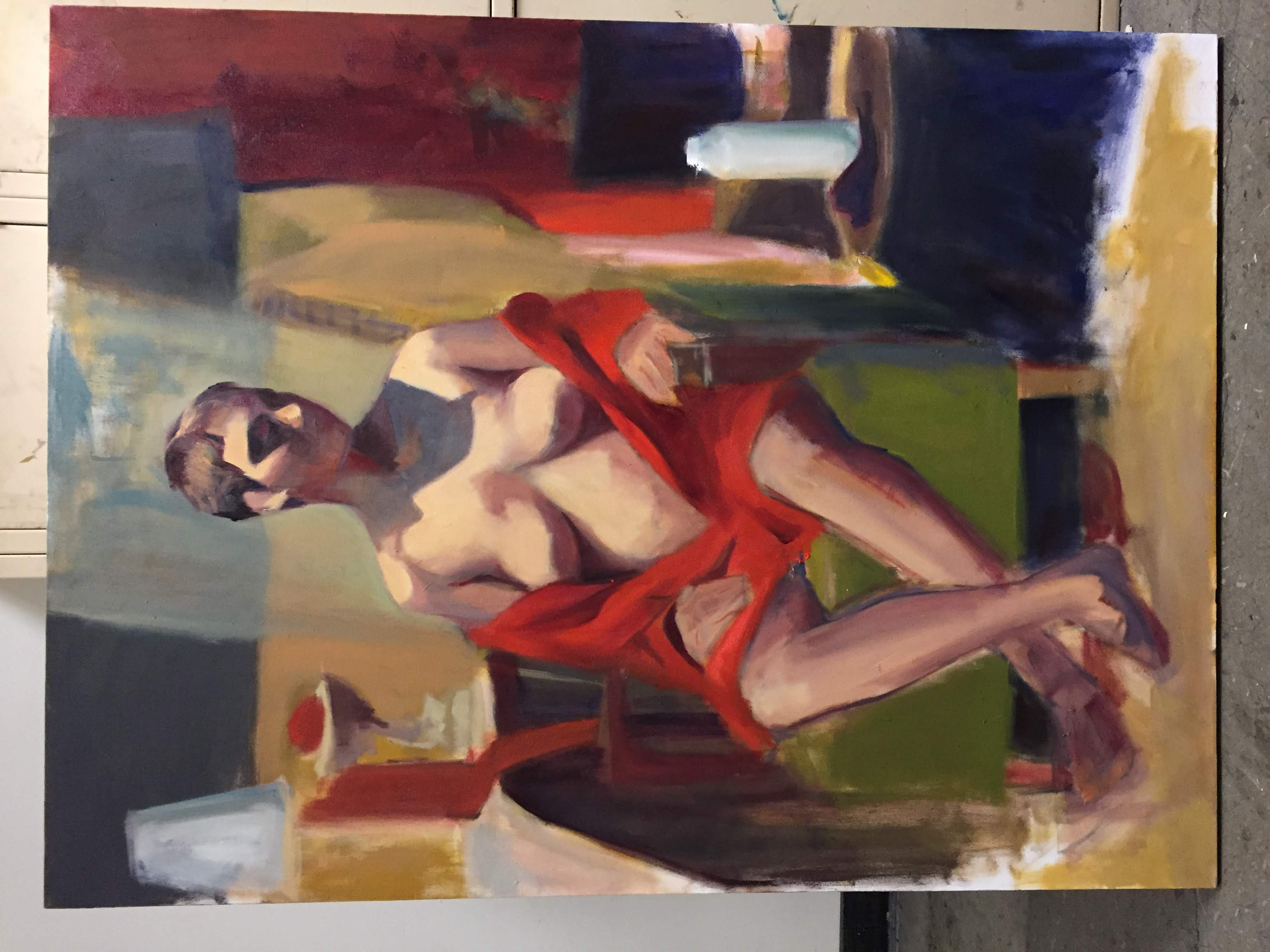 Figure study with deep red cloak