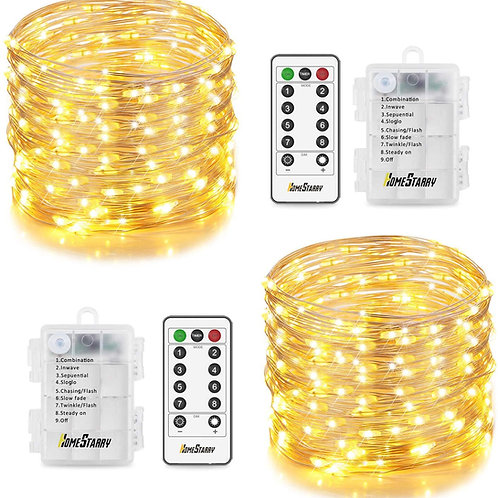 2 Sets 33 Ft Fairy Lights Battery Operated, 132 LED,6 AA Battery String Lights f