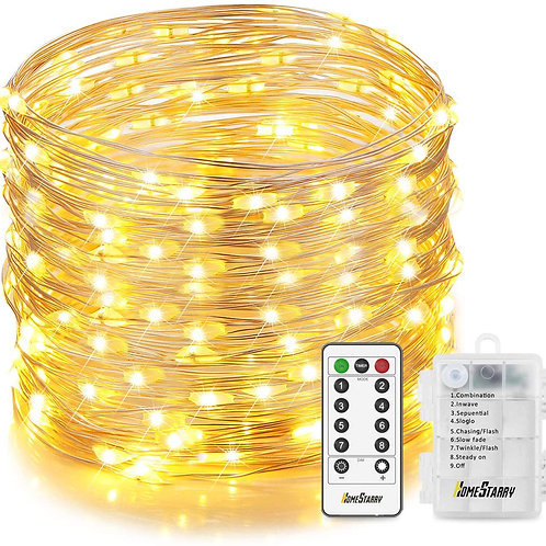 Homestarry Christmas Fairy Lights, 132 LED 33 ft, 6 AA Battery Operated String L