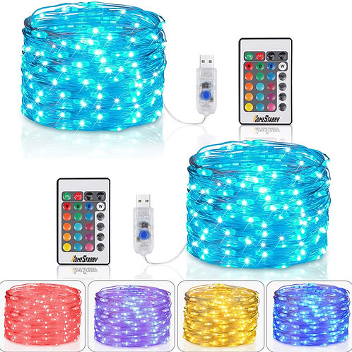 Homestarry Fairy Lights USB Plug String Lights with Remote 33 ft Color Changing