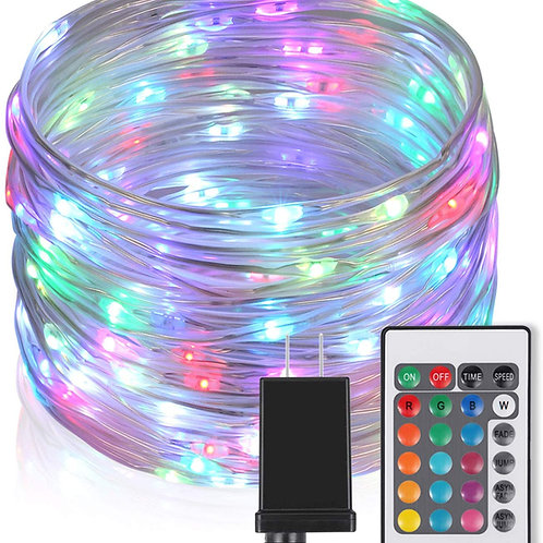 33Ft Outdoor LED Rope Lights Christmas Fairy Lights Plug in 100 LED