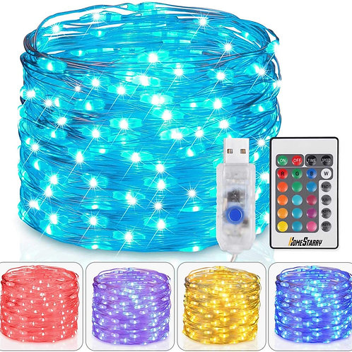 Homestarry Fairy Lights USB Plug In String Lights with Remote 33ft 100LEDs, 16 C