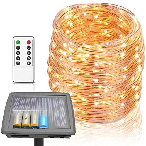 Solar Lights Outdoor, 100 ft String Lights Powered by Solar and Batteries, 8 Mod