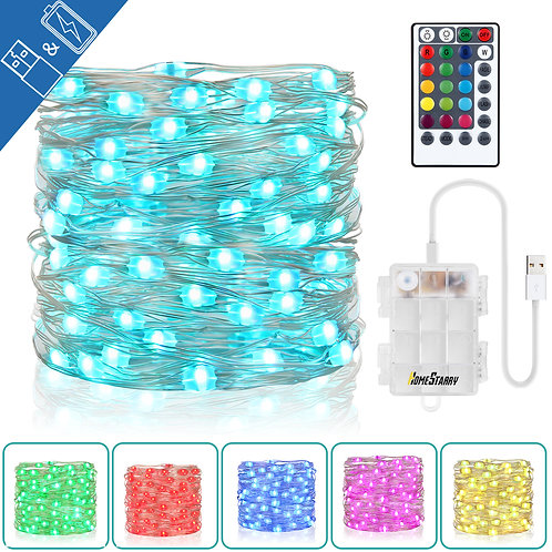 Fairy String Lights Battery Operated & USB Plug-in 33Ft 100 LEDs 16 Color