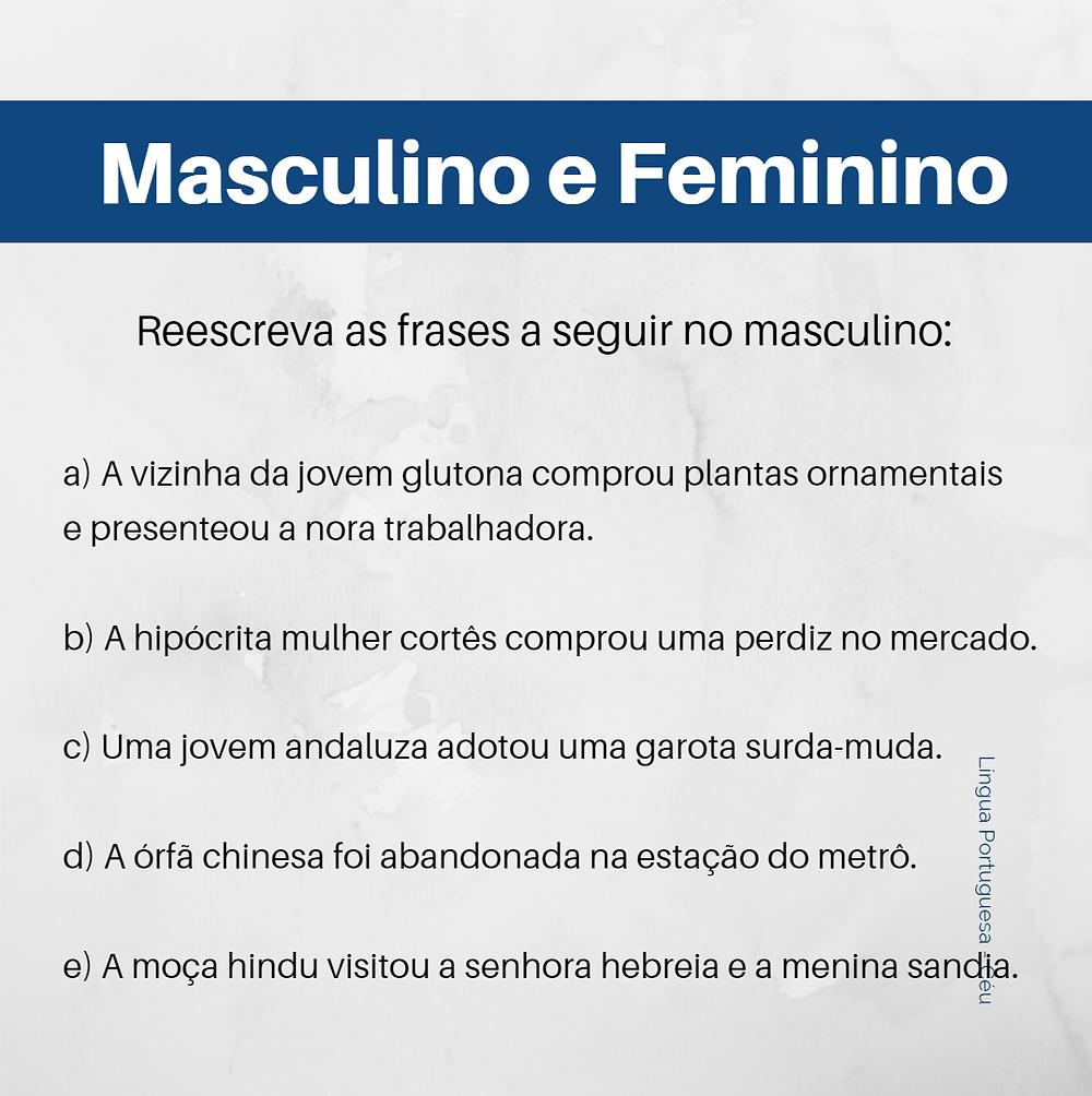 Exercicio de masculino e feminino