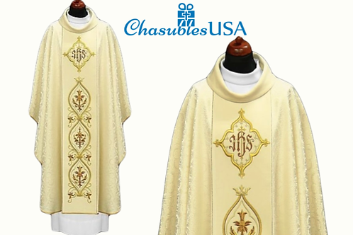 Priest Vestment 100% Viscose Fabrics IHS Design On A Satin Velvet