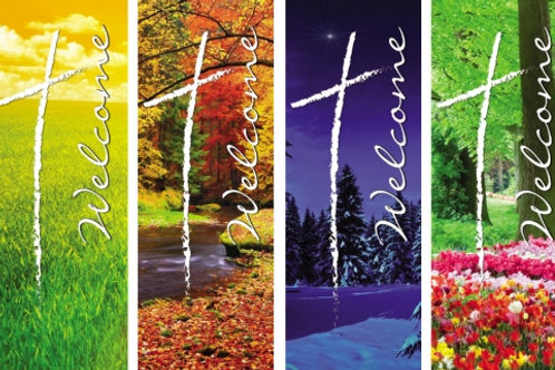 Seasonal Welcome Series X-Stand Banners - Set of 4