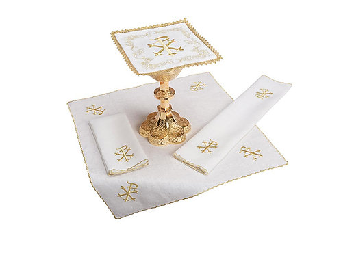 Embroidered PAX lace trim Altar Linen Gift Set