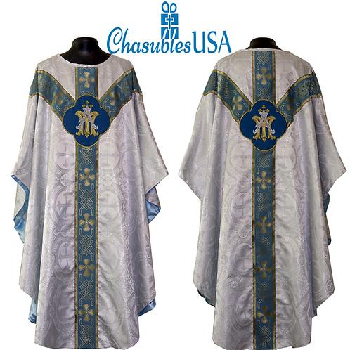 Chasuble Metallic Silver Marian Mass Set 5pcs