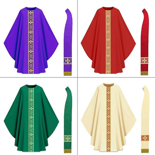Priest Gothic Chasuble Complete Set All 4 Colors