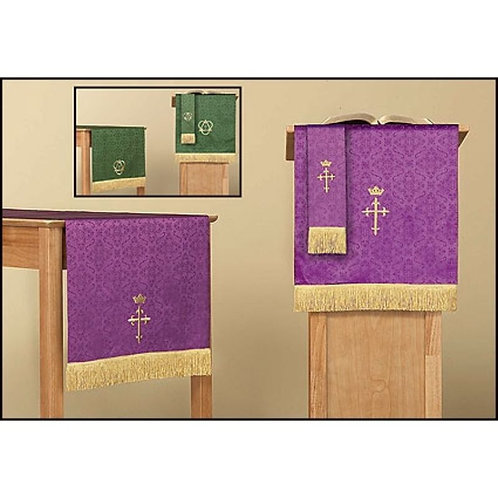 Jacquard Reversible Three Piece Parament Set: Purple/Green