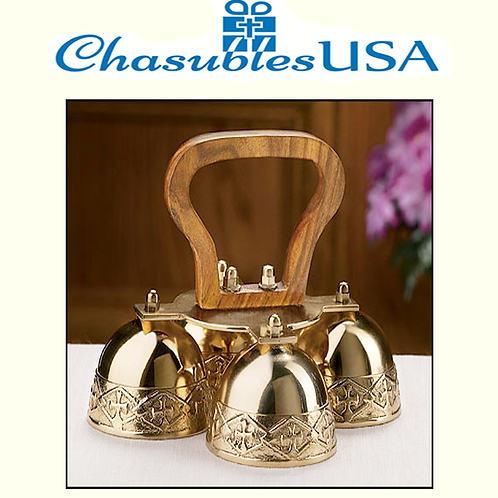 4-Bell Embossed Brass Altar Bells