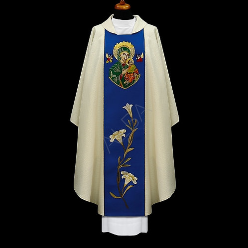 Chasuble Embroidered with the image of Our Lady of Perpetual Help.