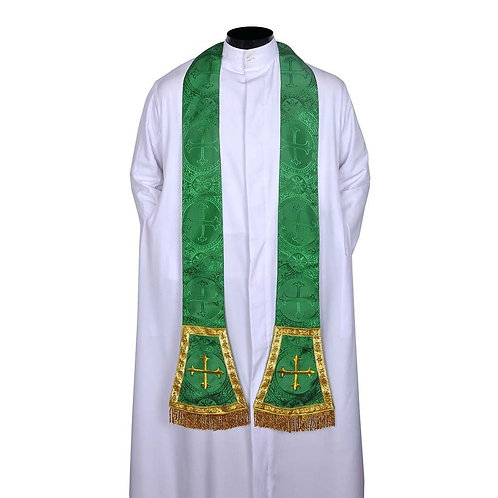 Stole Cross Embroidered Green