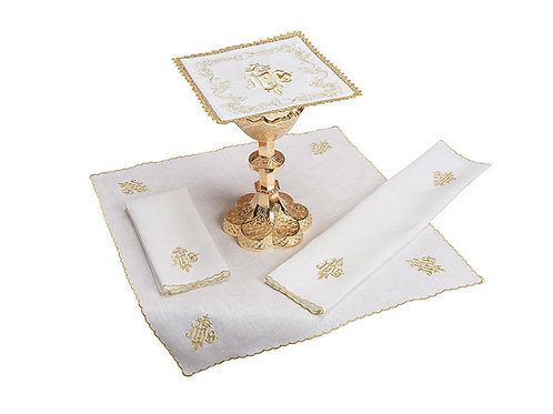 Embroidered IHS lace trim Altar Linen Gift Set