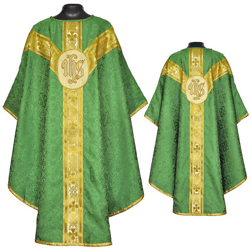 Green Gothic Vestment & Mass Set IHS