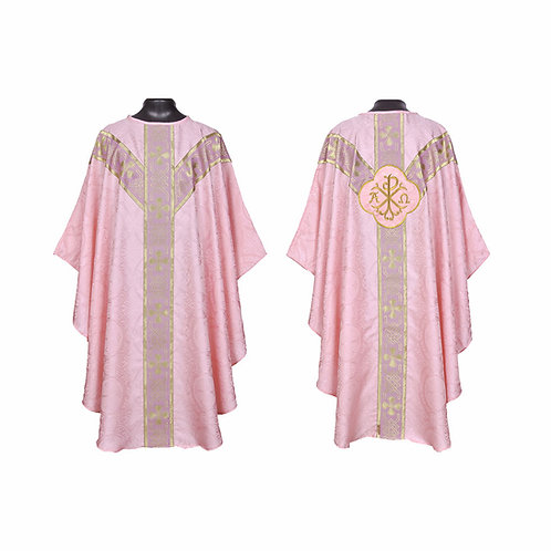 Rose Gothic Chasuble & Mass Set - Chi Rho (PAX) Motif on Back
