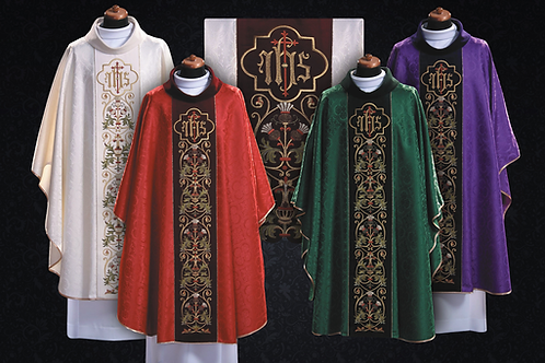Chasuble Eucharistic Green With IHS Velve