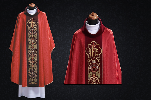 Chasuble Eucharistic RED With IHS Velvet Waist