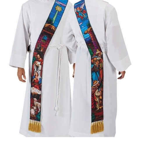 Stained Glass Nativity Deacon Stole