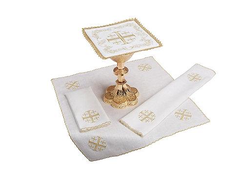 Embroidered Jerusalem Cross Lace Trim Altar Linen Gift Set