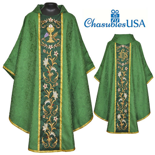 Eucharistic Chasuble GREEN Gothic Vestment & Stole
