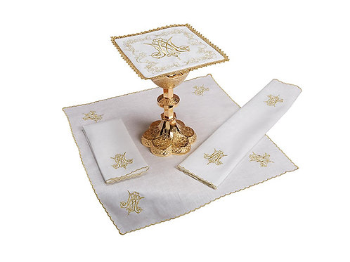 Embroidered Marian Lace Trim Altar Linen Gift Set