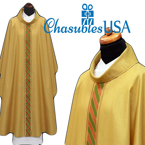 Chasuble Light Italian Brocade with Center Braid