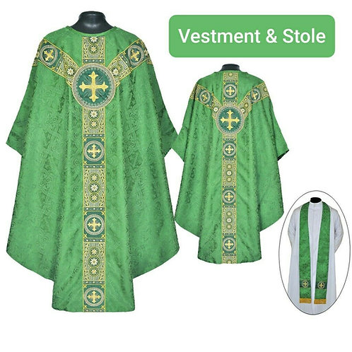 St. Andrews Chasuble Green Gothic Vestment & Stole
