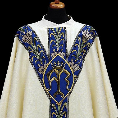 Elegant Gothic Marian Chasuble Salve Regina