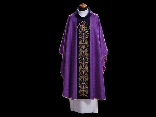 Chasuble Eucharistic PURPLE With IHS Velvet Waist