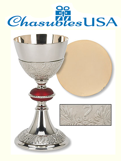 Grape Patterned with Red Node Chalice and Paten Se