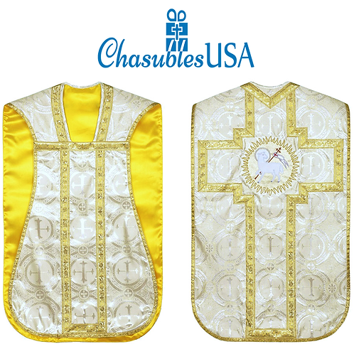 Fiddleback Chasuble & Low Mass Set Agnus Dei