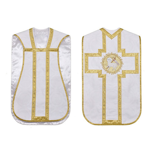 Agnus Dei Roman Fiddleback Chasuble 5 Pcs